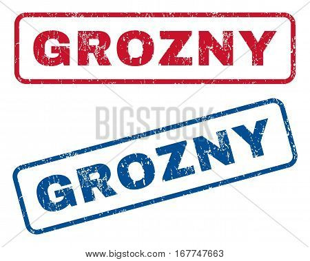 Grozny text rubber seal stamp watermarks. Vector style is blue and red ink tag inside rounded rectangular banner. Grunge design and scratched texture. Blue and red emblems.