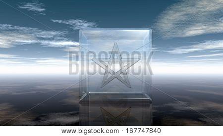pentagram in glass cube - 3d rendering