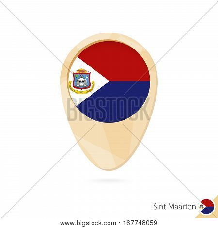Map Pointer With Flag Of Sint Maarten. Orange Abstract Map Icon.