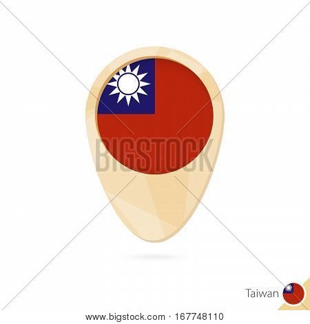 Map Pointer With Flag Of Taiwan. Orange Abstract Map Icon.