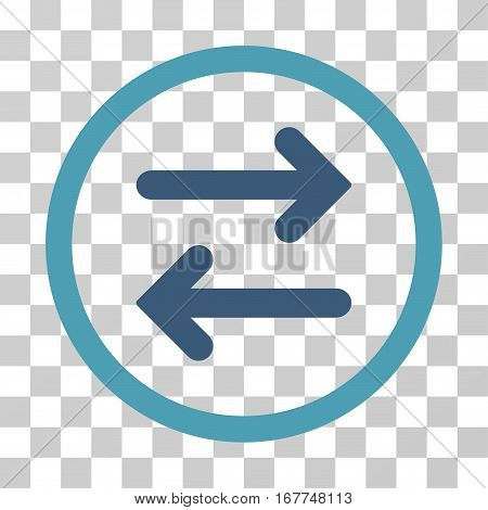 Flip Horizontal rounded icon. Vector illustration style is flat iconic bicolor symbol inside a circle, cyan and blue colors, transparent background. Designed for web and software interfaces.
