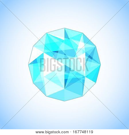 Realistic topaz shaped. Blue gem vector illustration.