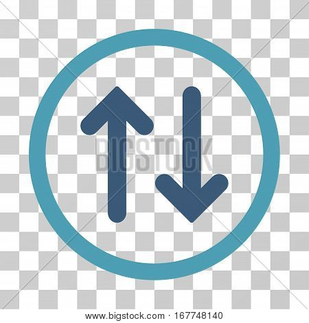 Flip rounded icon. Vector illustration style is flat iconic bicolor symbol inside a circle, cyan and blue colors, transparent background. Designed for web and software interfaces.