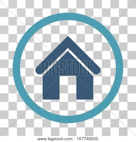 Home rounded icon. Vector illustration style is flat iconic bicolor symbol inside a circle, cyan and blue colors, transparent background. Designed for web and software interfaces.