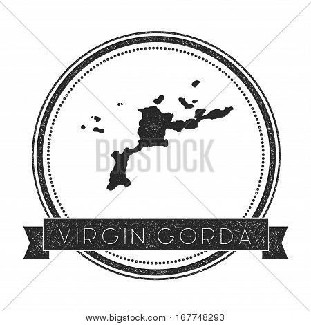 Virgin Gorda Map Stamp. Retro Distressed Insignia. Hipster Round Badge With Text Banner. Island Vect