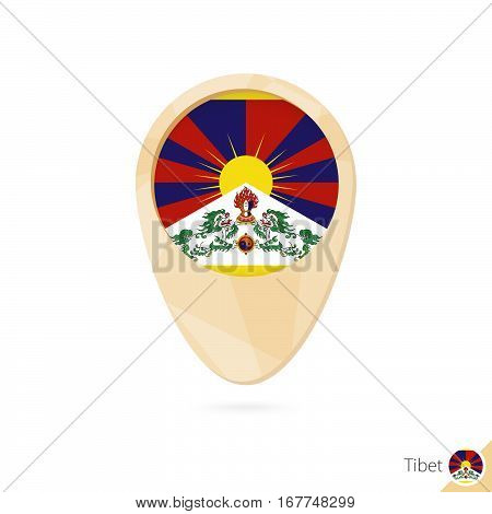 Map Pointer With Flag Of Tibet. Orange Abstract Map Icon.