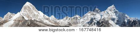 Panoramic view of Mount Everest Lhotse Nuptse Pumo Ri and Kala Patthar - way to Everest base camp great Himalayan trail - Nepal