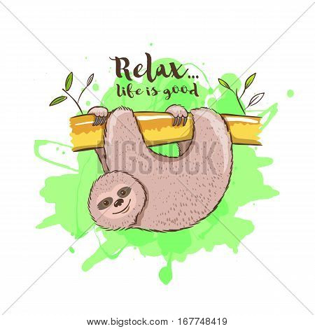 Cute cartoon sloth hanging on tree branch. Vector illustration