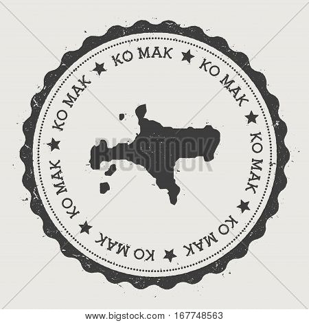 Ko Mak Sticker. Hipster Round Rubber Stamp With Island Map. Vintage Passport Sign With Circular Text
