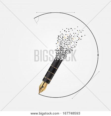 Modern art design of the pen. Vector illustration