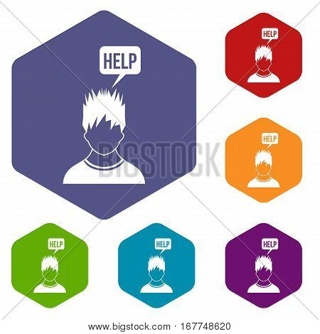 Man needs help icons set rhombus in different colors isolated on white background
