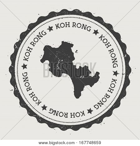 Koh Rong Sticker. Hipster Round Rubber Stamp With Island Map. Vintage Passport Sign With Circular Te