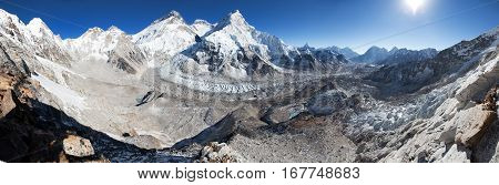 Beautiful view of mount Everest Lhotse and Nuptse panorama from Pumo Ri base camp - way to Everest base camp Khumbu valley Sagarmatha national park Nepal