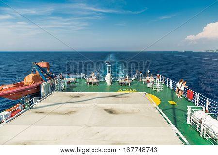 Mediterranean sea, Greece - SEPTEMBER 2016: Tourists Onboard the ferry
