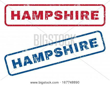 Hampshire text rubber seal stamp watermarks. Vector style is blue and red ink tag inside rounded rectangular banner. Grunge design and unclean texture. Blue and red emblems.