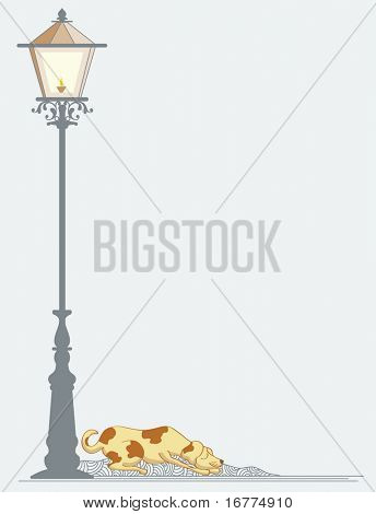 Dog sleeping near street Lamp and smiling.