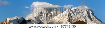 Evening panoramic view of mount Everest and Lhotse with beautiful clouds on the top from Gokyo Ri - Everest area Sagarmatha national park Khumbu valley Nepal