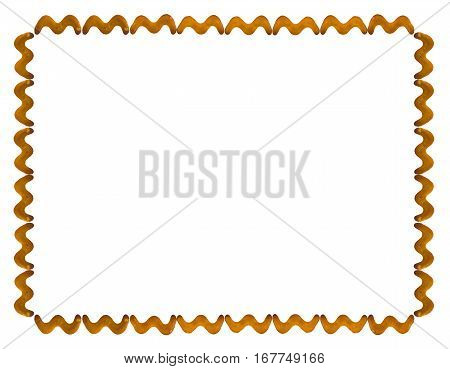 Frame of salted crackers on white isolated background, top view