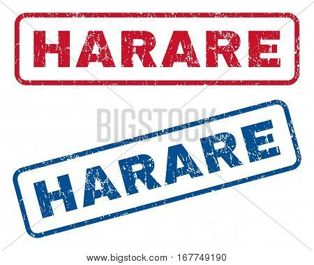 Harare text rubber seal stamp watermarks. Vector style is blue and red ink caption inside rounded rectangular banner. Grunge design and dust texture. Blue and red stickers.