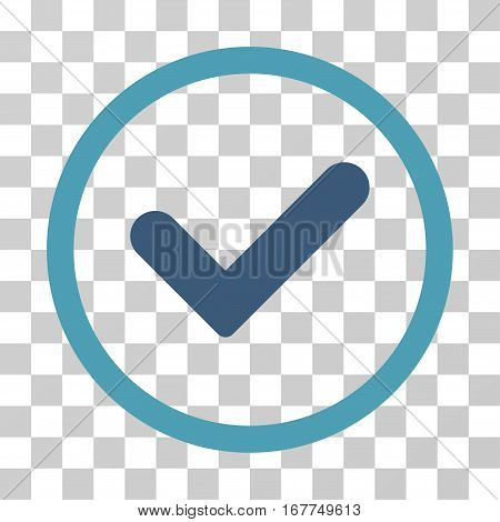 Yes rounded icon. Vector illustration style is flat iconic bicolor symbol inside a circle, cyan and blue colors, transparent background. Designed for web and software interfaces.