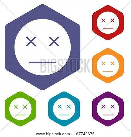 Dead emoticon icons set rhombus in different colors isolated on white background