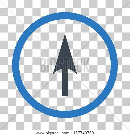 Arrow Axis Y rounded icon. Vector illustration style is flat iconic bicolor symbol inside a circle, smooth blue colors, transparent background. Designed for web and software interfaces.