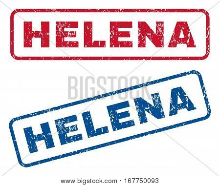Helena text rubber seal stamp watermarks. Vector style is blue and red ink tag inside rounded rectangular shape. Grunge design and dust texture. Blue and red emblems.