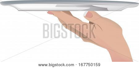 female hand gets up and hands silver tray