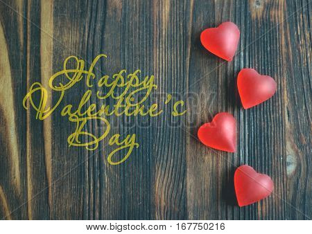 Hearts On Wooden Background, Valentine's Day Concept