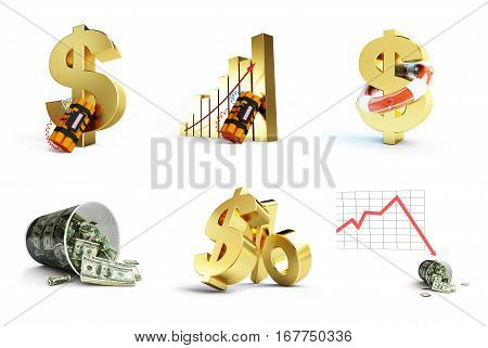 dollar crisis set on white background. 3d Illustrations