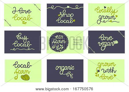 Badges, business cards for package, bag, concept, local promo, farmers market, shop, branding, food store, farmers festival, design, business. Set. Buy local. Local Farm. Eco Farm. Shop local. Vegan.
