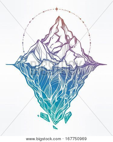 Hand drawn beautiful iceberg, sky with sacred geometry elements. Glacier design. Isolated vector illustration. Tattoo, travel, adventure, retro symbol. Metaphor of hidden potential or opportunity.