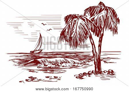 Summer beach landscape hand drawn vector illustration sketch