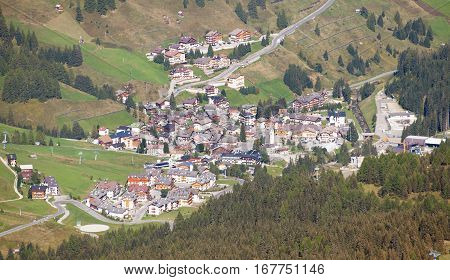 View of Arabba one of the best dolomiten centre of recreation Sella ronda South Tirol Italian dolomities mountains Italy