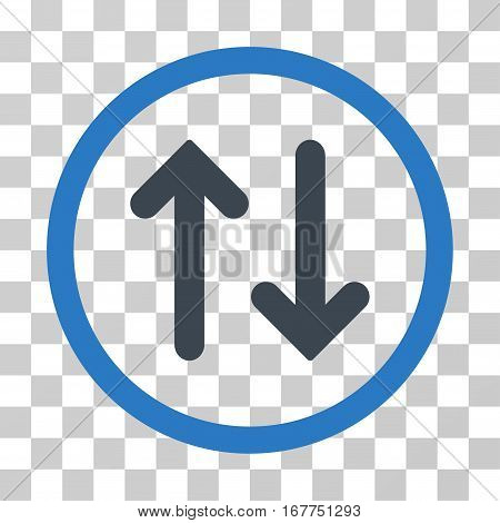 Flip rounded icon. Vector illustration style is flat iconic bicolor symbol inside a circle, smooth blue colors, transparent background. Designed for web and software interfaces.