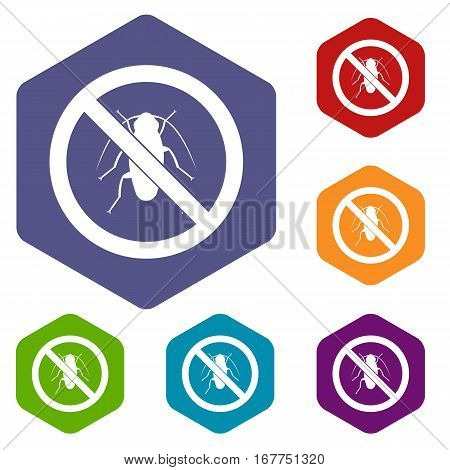 No cockroach sign icons set rhombus in different colors isolated on white background