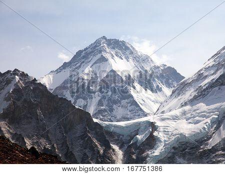 View of Mount Changtse Tibetan mount near mt. Everest Nepal