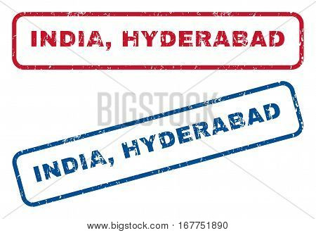 India, Hyderabad text rubber seal stamp watermarks. Vector style is blue and red ink caption inside rounded rectangular banner. Grunge design and unclean texture. Blue and red stickers.
