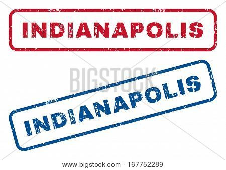 Indianapolis text rubber seal stamp watermarks. Vector style is blue and red ink tag inside rounded rectangular shape. Grunge design and scratched texture. Blue and red stickers.