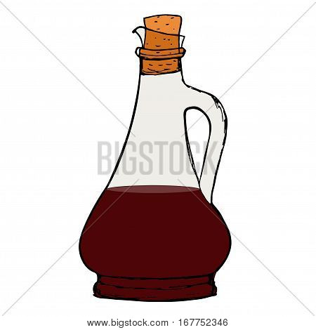 Balsamic vinegar sauce bottle with cork. Isolated.