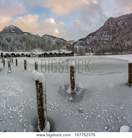 Beautiful view of frozen Lake Konigssee with idyllic mountain scenery in winter, National Park Berchtesgadener Land, Bavaria, Germany