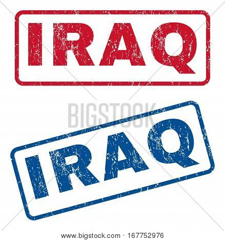 Iraq text rubber seal stamp watermarks. Vector style is blue and red ink tag inside rounded rectangular banner. Grunge design and unclean texture. Blue and red stickers.
