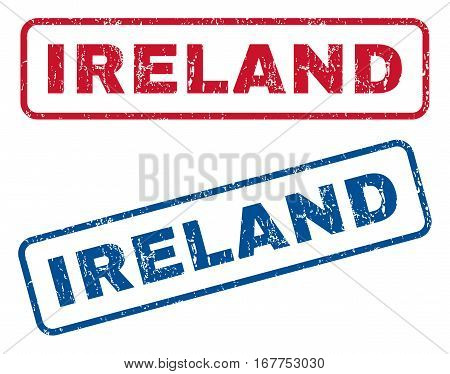 Ireland text rubber seal stamp watermarks. Vector style is blue and red ink tag inside rounded rectangular shape. Grunge design and dirty texture. Blue and red emblems.