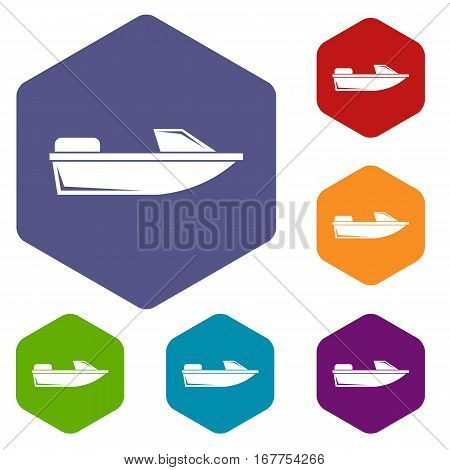 Sports powerboat icons set rhombus in different colors isolated on white background