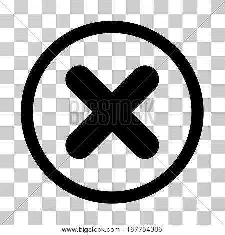 Cancel rounded icon. Vector illustration style is flat iconic symbol inside a circle, black color, transparent background. Designed for web and software interfaces.