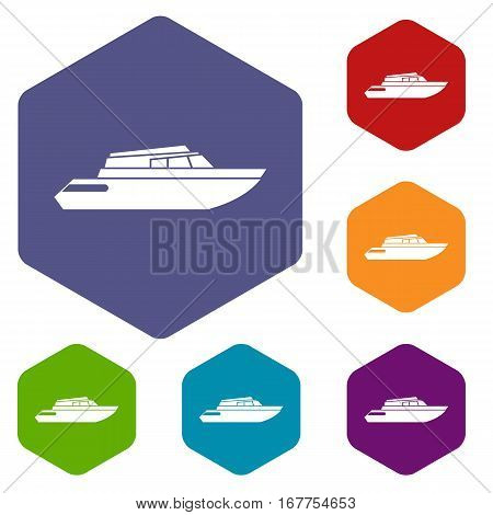 Planing powerboat icons set rhombus in different colors isolated on white background