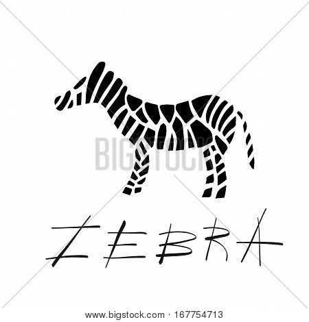 A simple zebra striped logo in black and white colors. Lettering words zebra. Modern sign for business. Vector illustration symbol for zoo, cafe, shop, small business