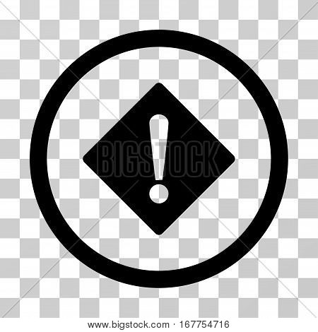 Error rounded icon. Vector illustration style is flat iconic symbol inside a circle, black color, transparent background. Designed for web and software interfaces.