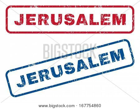 Jerusalem text rubber seal stamp watermarks. Vector style is blue and red ink caption inside rounded rectangular shape. Grunge design and dirty texture. Blue and red emblems.