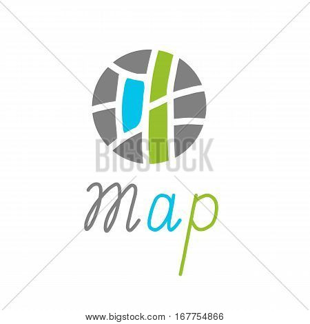 City map creative symbol concept. Flat circle maze. logo design with labyrinth. icon template for mapping sites, mobile applications, services, tourist routes and point of interest. Handmade lettering